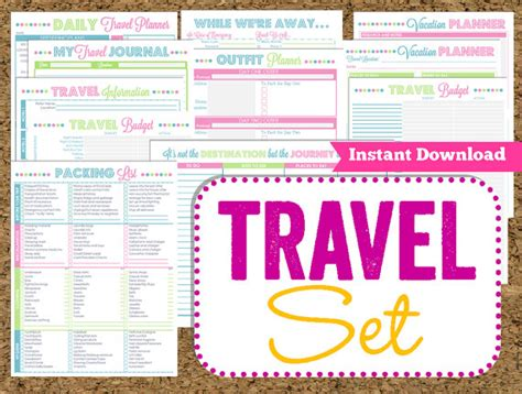 printable vacation planner free instant download travel printables vacation planner 14 pdf