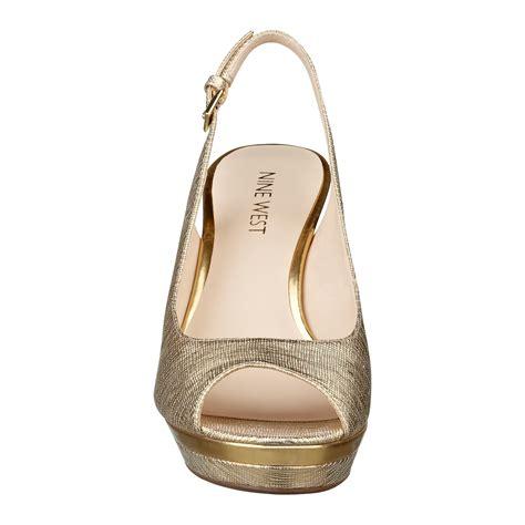 Able Heels nine west able high heel peep toe pumps in metallic lyst