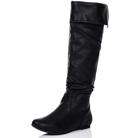 buy alyson flat knee high slouch boots black leather style