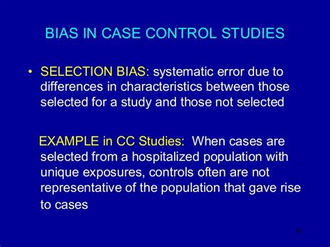 cross sectional study bias lecture 5 case control cross sectional spring 2013