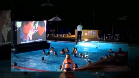 swimming pool movie aquascreen a floating inflatable movie screen for your