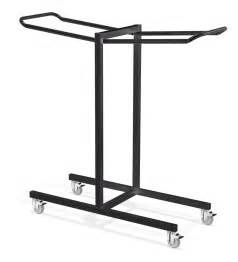 black color iron folding chair storage rack with wheels