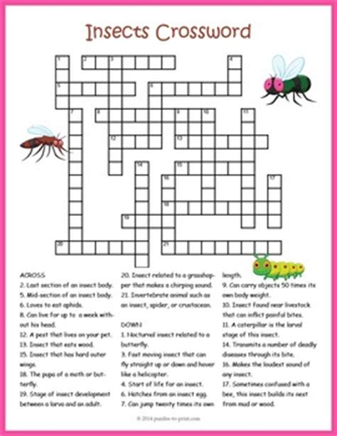 supplement crossword clue bugs and insects crossword puzzle