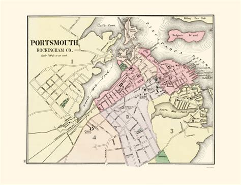 portsmouth usa map historic city maps portsmouth new hshire nh by
