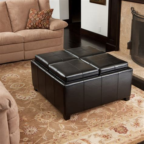 leather tray top storage ottoman harley leather espresso tray top storage ottoman gdf studio
