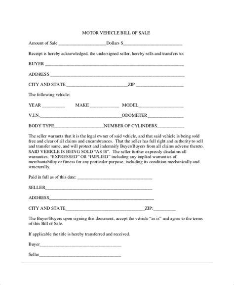automotive bill of sales auto bill of sale template free