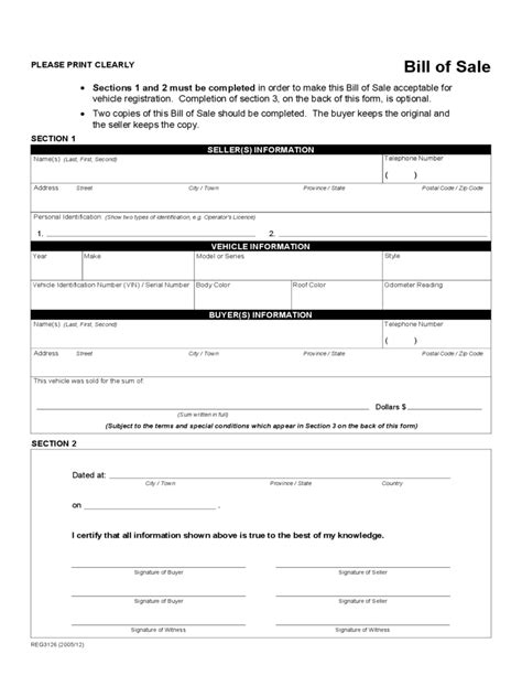 bill of sale for vehicle sle alberta bill of sale form free templates in pdf word