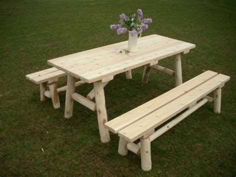 white cedar log picnic table with detached bench 6 foot