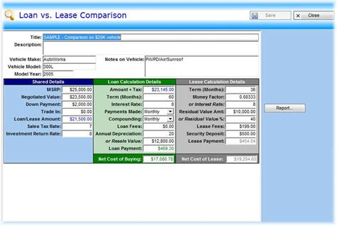 lease vs buy analysis excel template youtube