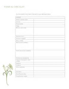 Funeral Planner Template by Funeral Planning Checklist Organisation