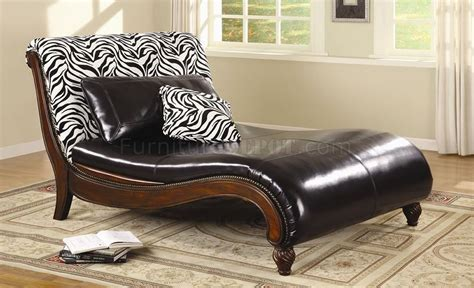 brown lounge dark brown bycast leather stylish chaise lounge w zebra back