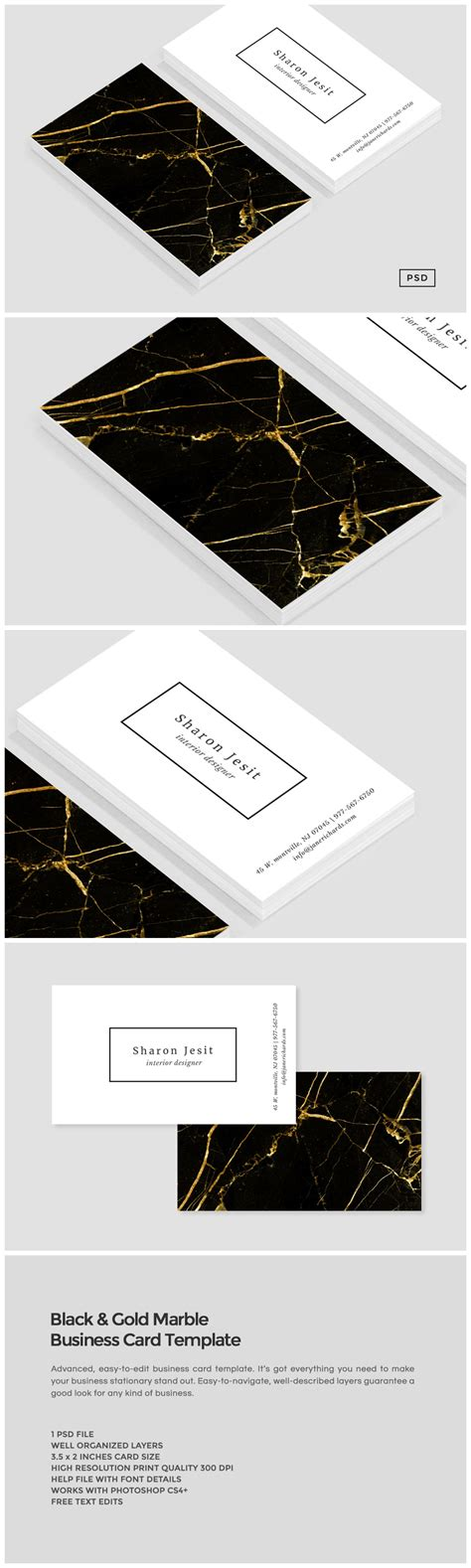 gold business card template black gold marble business card business card