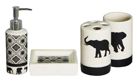 elephant bathroom accessories 4 piece bath accessories set groupon goods