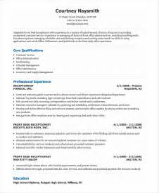 Resume Sle For Front Office Receptionist Front Desk Receptionist Resume Whitevan