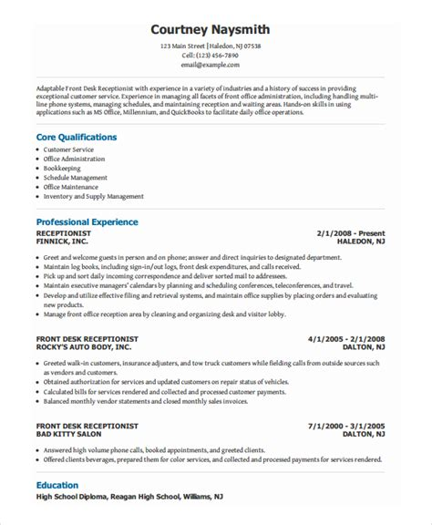 Receptionist Resume Templates by Receptionist Resume Template 8 Free Word Pdf Document