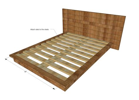 Platform Bed Frame Plans White Rustic Modern 2x6 Platform Bed Diy Projects