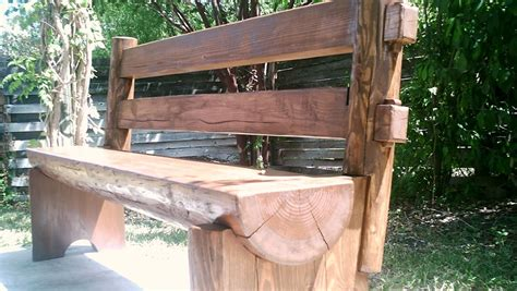 bench log half log bench finewoodworking