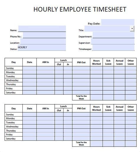hourly timesheet template 7 daily timesheet templates free sle exle format