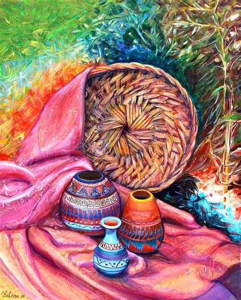 acrylic painting kit india still with indian pottery by yelena rubin