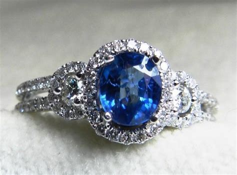 Blue Sapphire 4 7ct sapphire engagement ring halo ring 0 93 carat