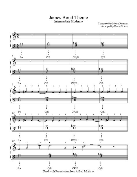 theme music james bond james bond theme by monty norman piano sheet music