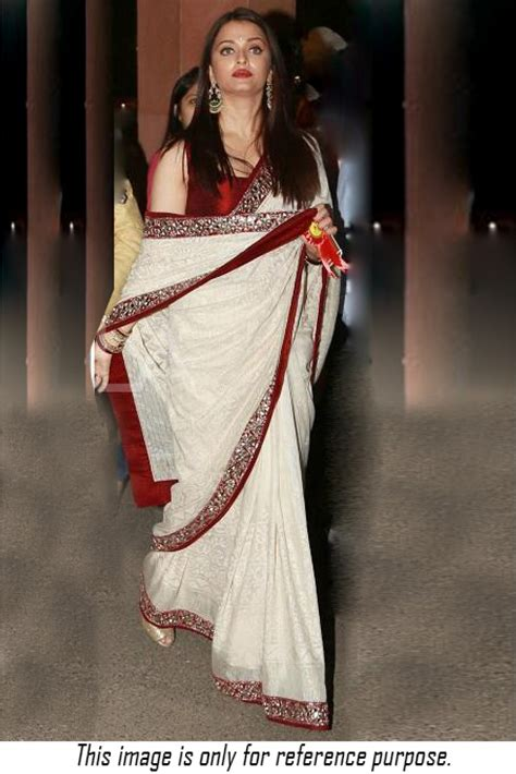 aishwarya rai in designer saree collection5 cutstyle buy bollywood style aishwarya rai white and red colour