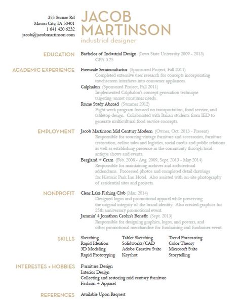 Industrial Designer Sle Resume by Jacob Martinson Industrial Designer Resume