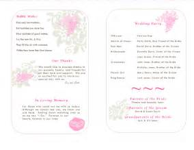 The wedding program templates are sample wedding programs that are