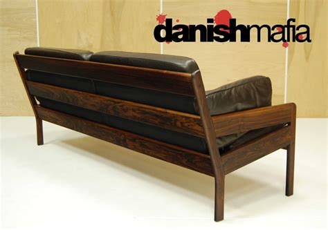 danish couch 60 s mid century danish modern rosewood leather erik