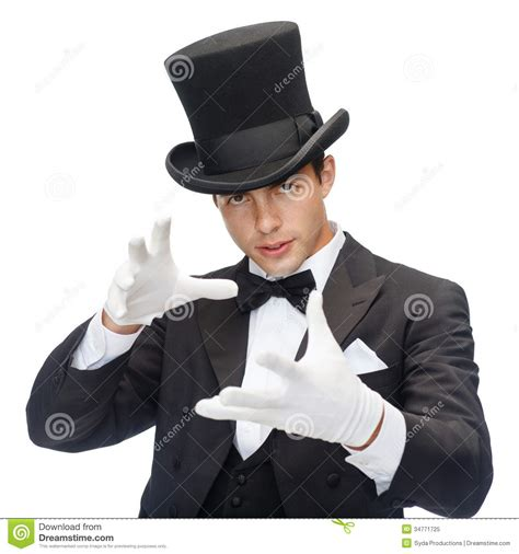 best magician magician in top hat showing trick royalty free stock photo