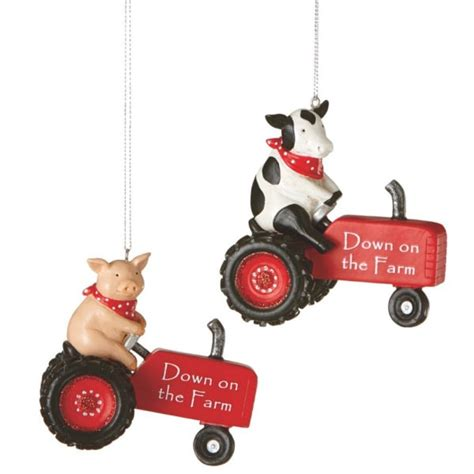 down on the farm tractor christmas ornaments set of 2