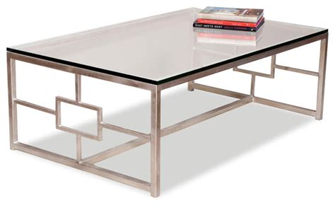 gold and glass rectangle coffee table vetra contemporary antique silver leaf glass rectangle