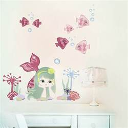 mermaid fabric removable fabric wall stickers