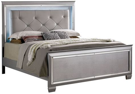 silver queen bed bellanova silver queen upholstered panel bed cm7979sv q