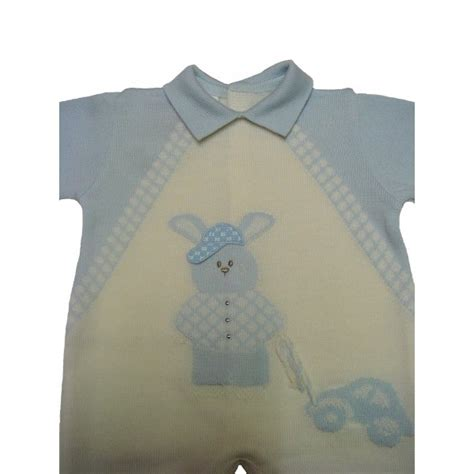 Stelan Baby White stella baby boy blue and white knitted bunny romper