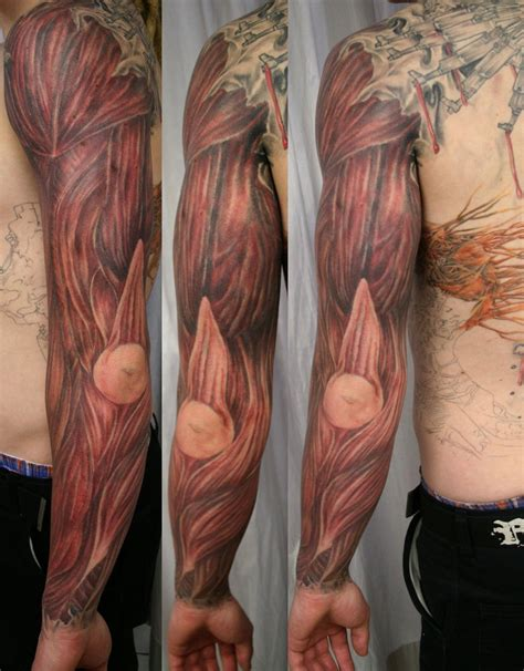 muscle tattoo armsleeve tat by 2face on deviantart