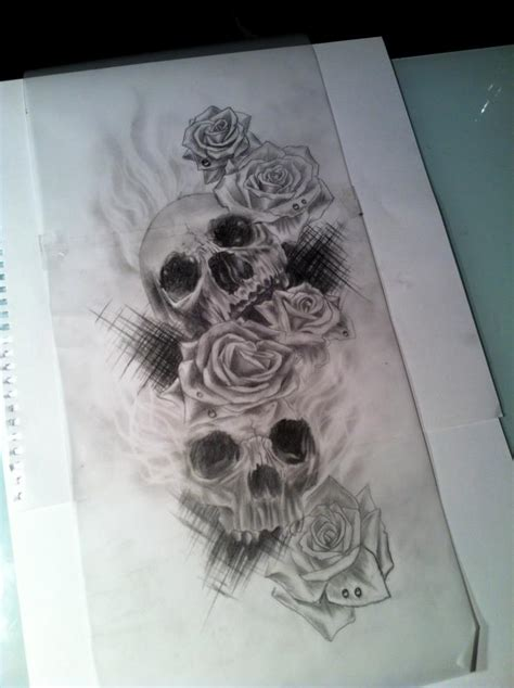 skulls and roses sketch by calebslabzzzgraham on deviantart