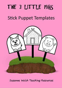 the three pigs puppet templates 24 best stick puppet templates images on