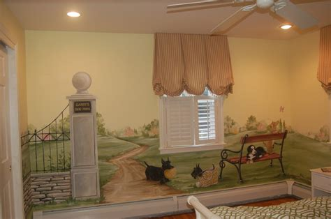 dog park mural childrens room traditional kids boston macmurraydesigns