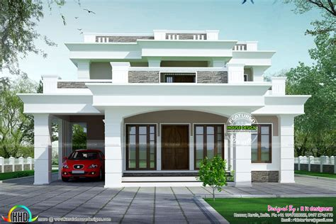 flat roof home designs 2813 sq ft flat roof box type home kerala home design