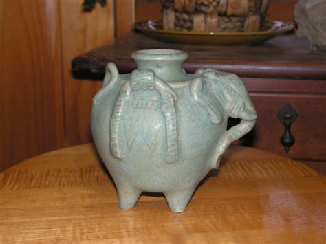 Elephant Vase Ceramic by Vintage Ceramic Pottery Elephant Vase Made In Thailand