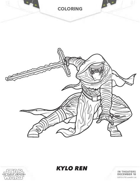 coloring pages kylo ren star wars coloring pages the force awakens coloring pages