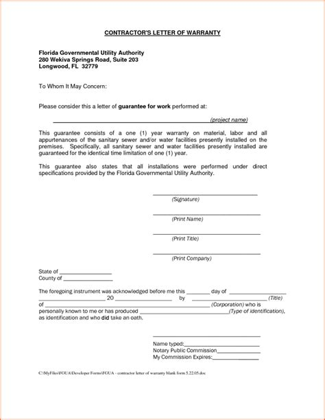 Guarantee Letter Construction Construction Warranty Letter Template Docoments Ojazlink
