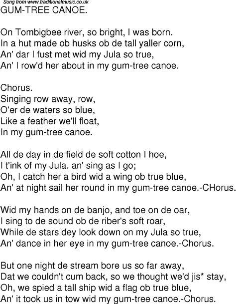 canoes on gumtree old time song lyrics for 03 gum tree canoe