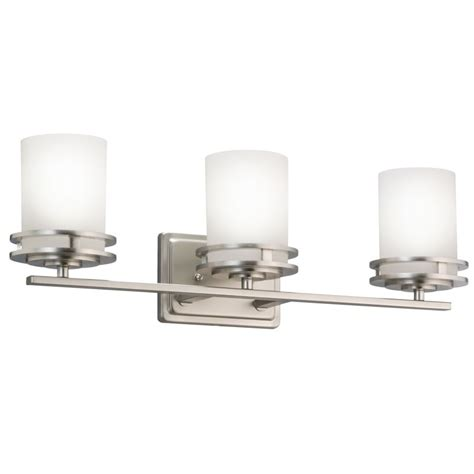 replacement glass shades for bathroom light fixtures kichler 5078ni brushed nickel hendrik 3 light 24 quot wide