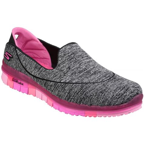 Slip On Shoes Pink skechers go flex slip on sports shoe s black pink shoes free returns at shoes co uk