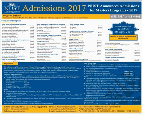 Mba Application Form 2016 by Nust Ms Mba Emba Admissions 2018 Application