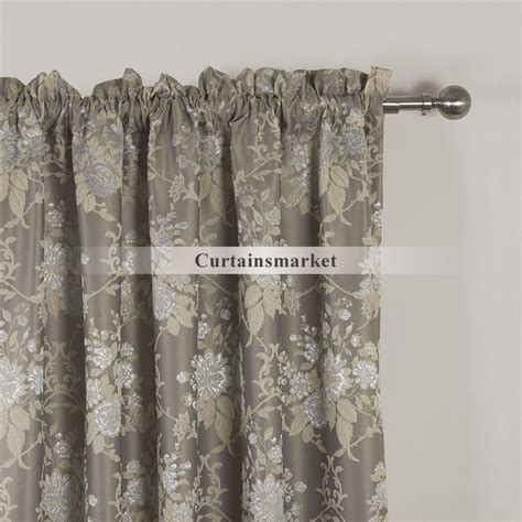 Gray Floral Curtains Luxurious Jacquard Floral Grey Patterned Curtains