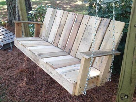 pallet swing bench diy pallet outdoor two seated swing 101 pallets