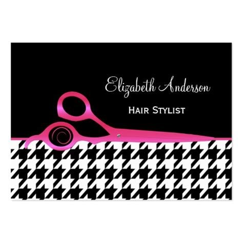 black hair business card template girly pink and black houndstooth hair salon business card